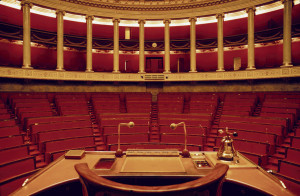 Hemicycle, assemblee Nationale, vide ©Francois PERRI/REA